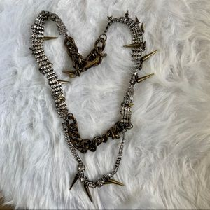 J.Crew Layered Chain Gem Necklace with Spikes